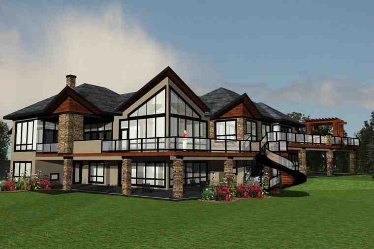 Contemporary House Plan 81183 with 4 Beds, 4 Baths, 4 Car Garage Elevation