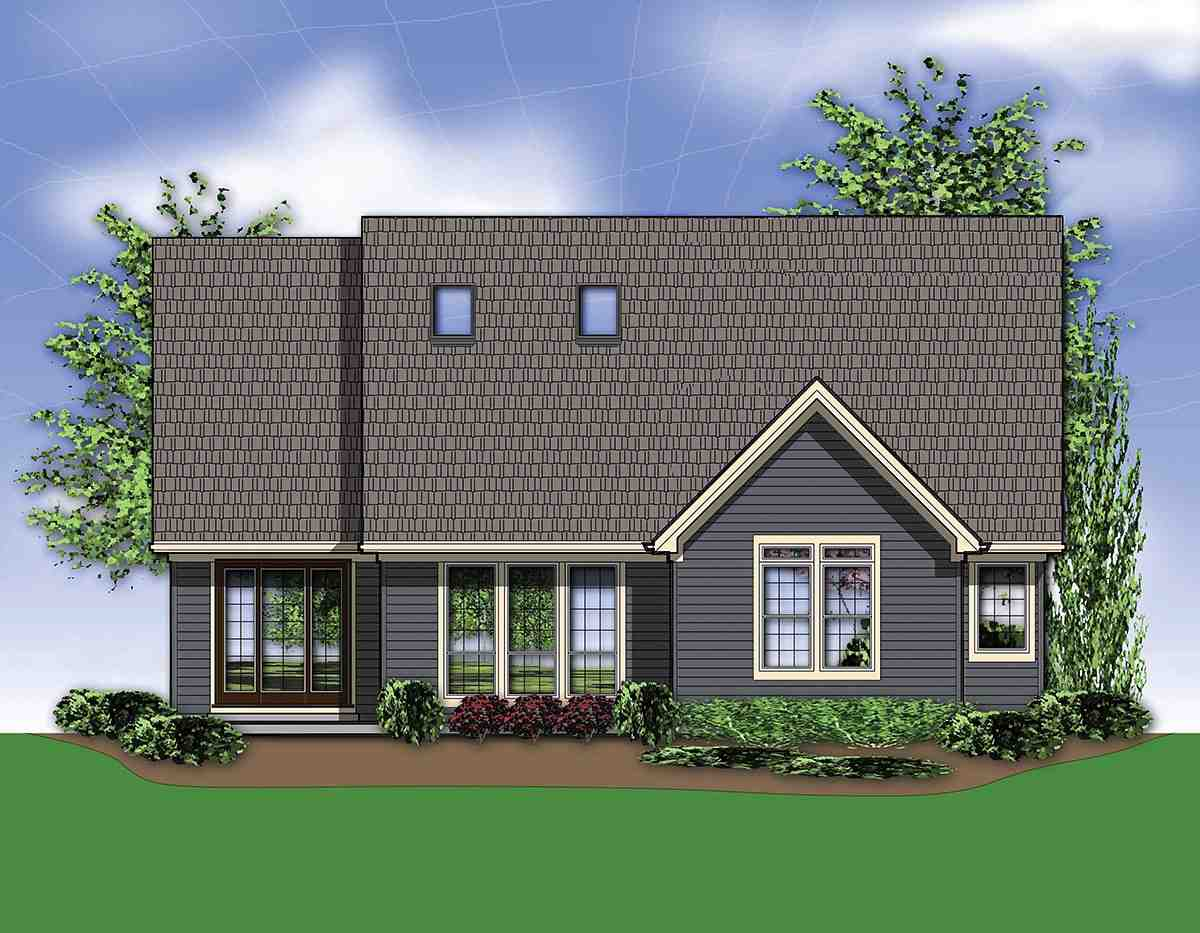 Bungalow, Craftsman House Plan 81232 with 3 Beds, 3 Baths, 2 Car Garage Rear Elevation