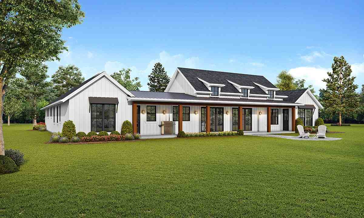 Farmhouse House Plan 81268 with 3 Beds, 3 Baths, 3 Car Garage Rear Elevation