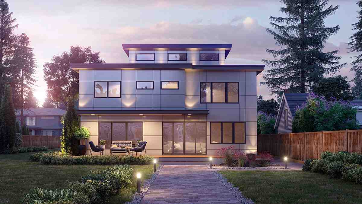 Contemporary, Modern House Plan 81908 with 5 Beds, 4 Baths, 2 Car Garage Rear Elevation