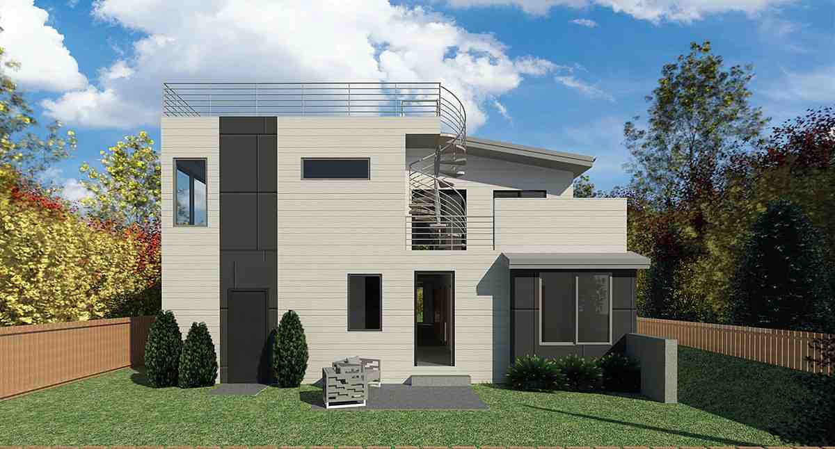 Contemporary, Modern House Plan 81964 with 4 Beds, 3 Baths, 3 Car Garage Rear Elevation