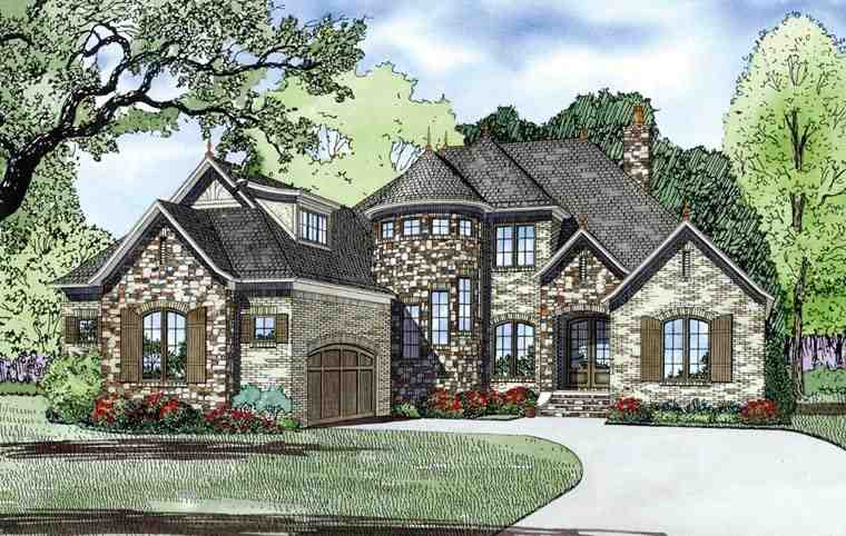 Craftsman, European, French Country House Plan 82165 with 4 Beds, 4 Baths, 2 Car Garage Elevation