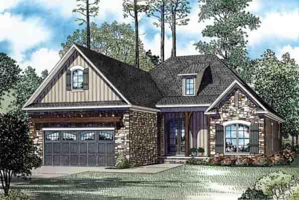 Craftsman, European, Tuscan House Plan 82272 with 3 Beds, 2 Baths, 2 Car Garage Elevation