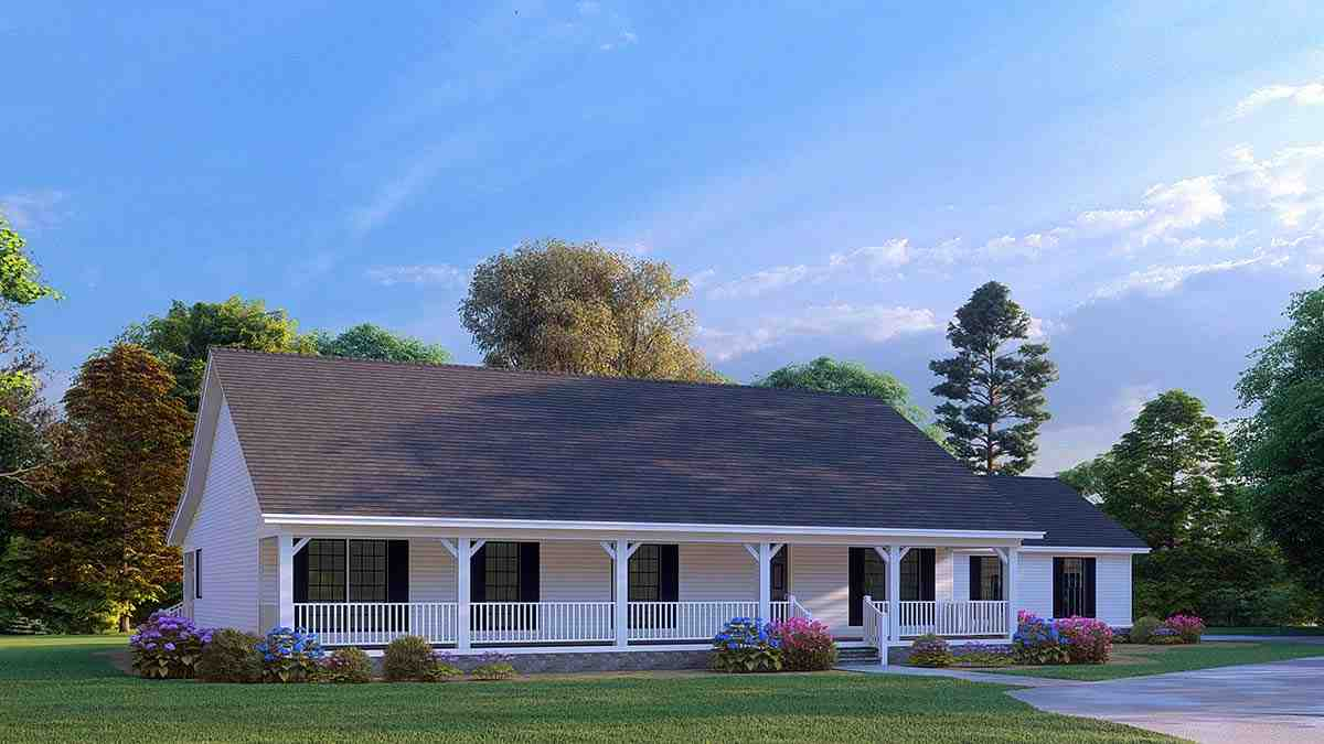 Cabin, Country, Ranch House Plan 82434 with 3 Beds, 2 Baths, 2 Car Garage Elevation