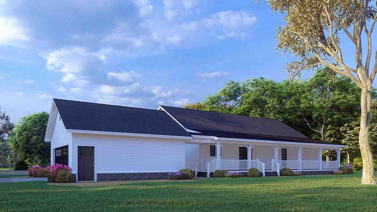 Cabin, Country, Ranch House Plan 82434 with 3 Beds, 2 Baths, 2 Car Garage Picture 2