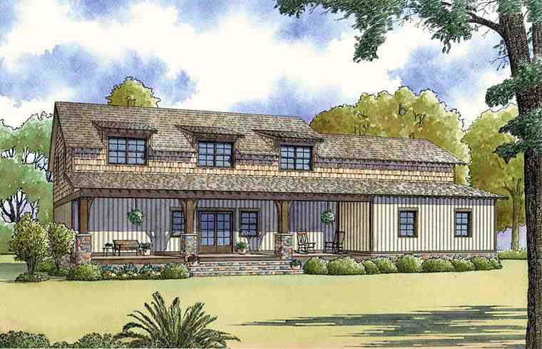 Colonial, Country, Craftsman, Farmhouse House Plan 82454 with 3 Beds, 3 Baths, 2 Car Garage Rear Elevation