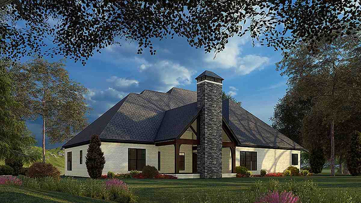 Bungalow, Craftsman, French Country, Traditional House Plan 82575 with 4 Beds, 4 Baths, 2 Car Garage Rear Elevation