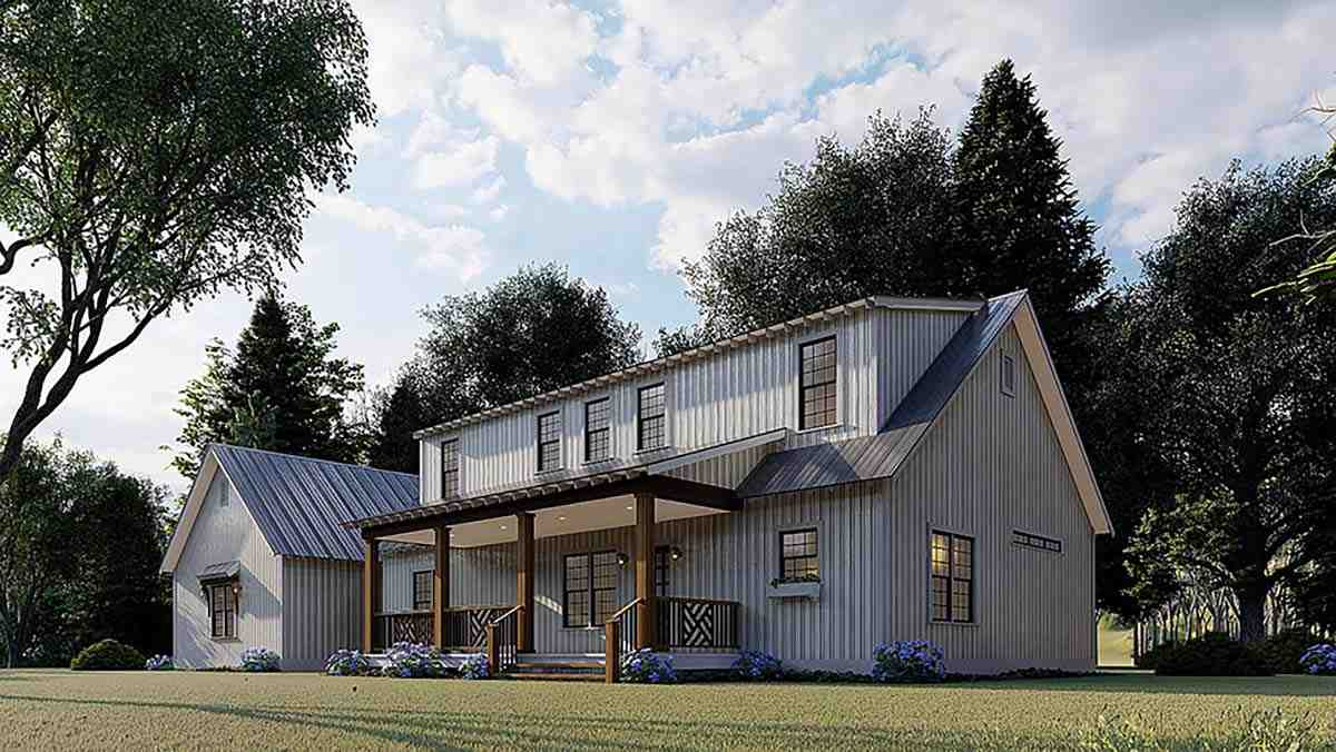 Contemporary, Country, Farmhouse House Plan 82576 with 3 Beds, 3 Baths, 3 Car Garage Picture 1