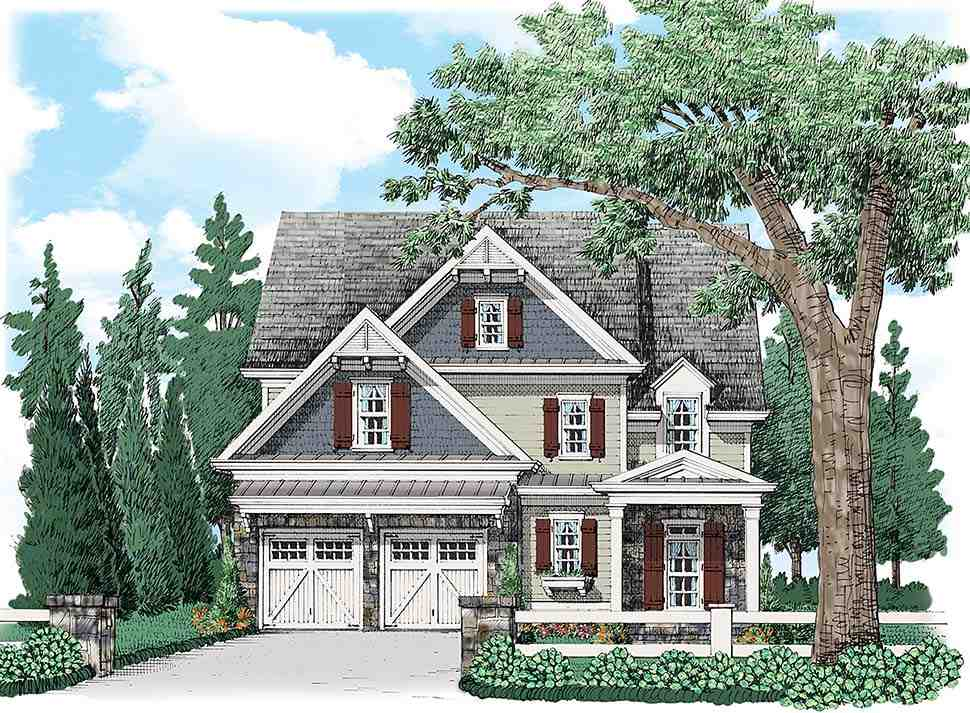 Colonial, Craftsman, Traditional House Plan 83040 with 4 Beds, 4 Baths, 2 Car Garage Elevation