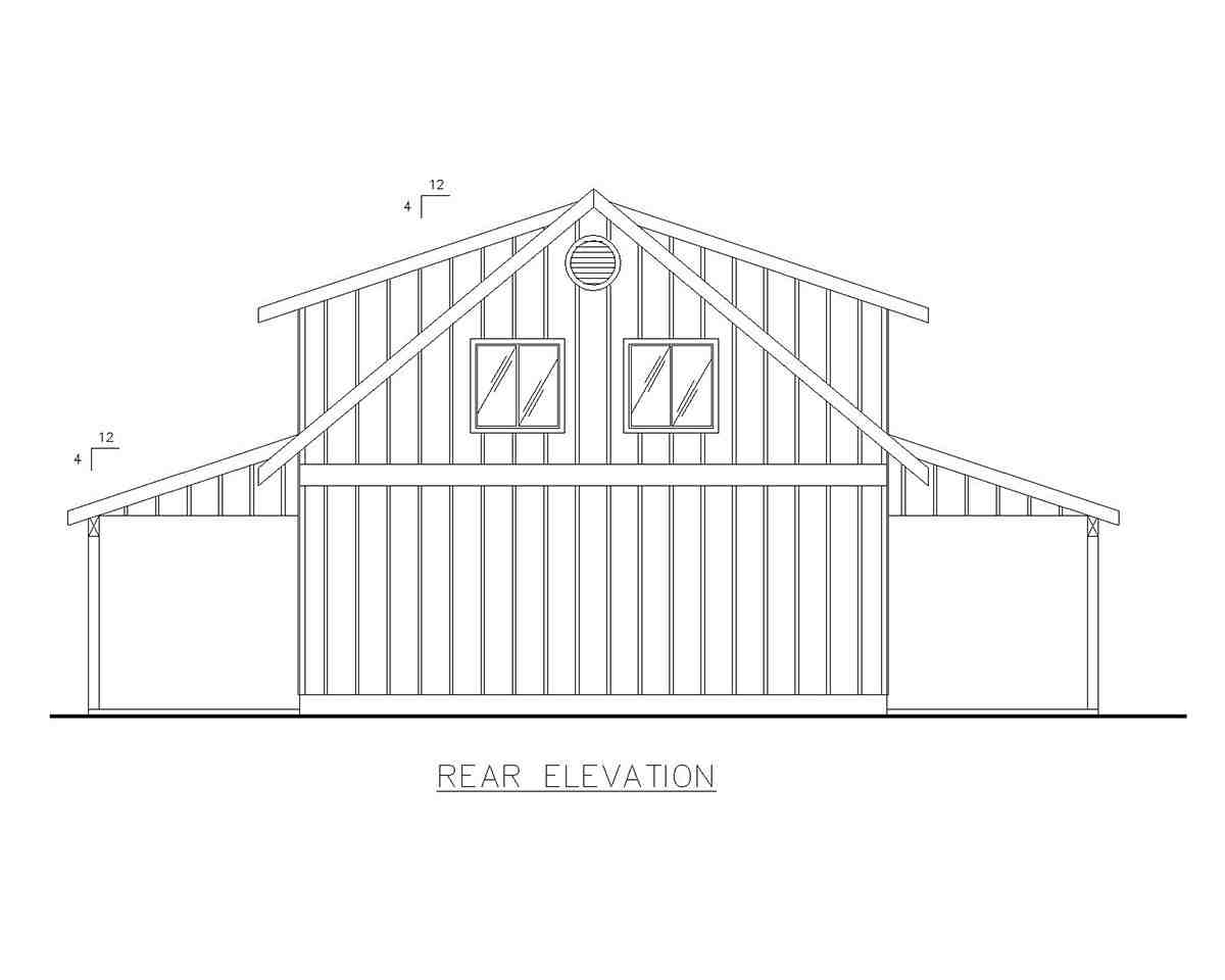 Country, Southern 4 Car Garage Apartment Plan 85207 with 2 Beds, 1 Baths Rear Elevation