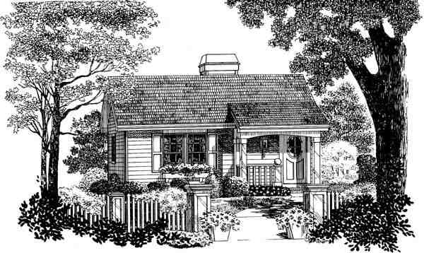 Cabin, Colonial, Cottage, Country, Ranch House Plan 86955 with 1 Beds, 1 Baths Picture 3