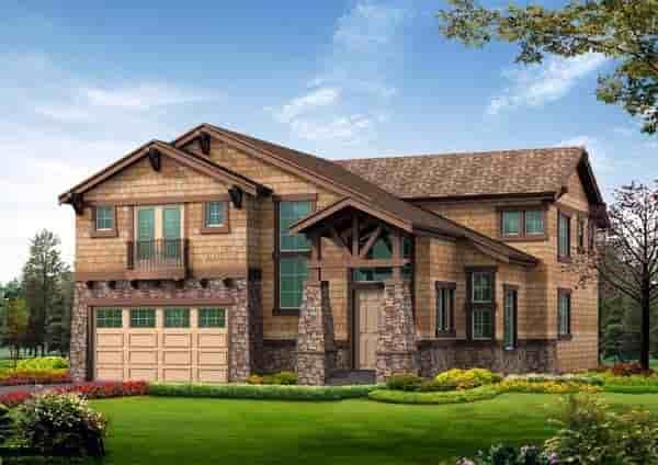 Craftsman, Tuscan House Plan 87666 with 5 Beds, 4 Baths, 2 Car Garage Elevation
