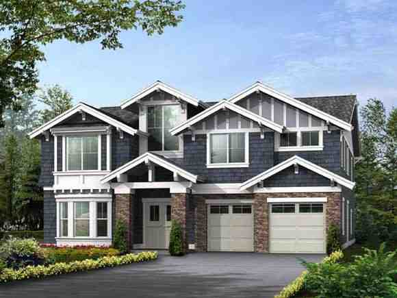 Craftsman House Plan 87671 with 5 Beds, 5 Baths, 3 Car Garage Elevation