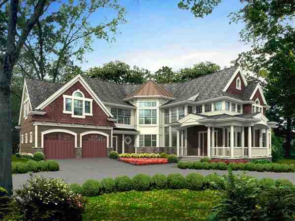 Farmhouse, Victorian House Plan 87672 with 3 Beds, 4 Baths, 2 Car Garage Elevation