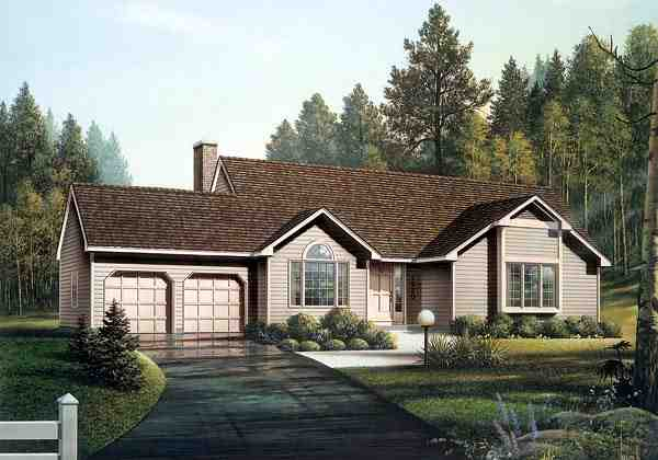 Ranch House Plan 87821 with 3 Beds, 2 Baths, 2 Car Garage Elevation