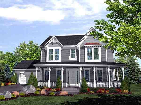 Farmhouse, Victorian House Plan 88007 with 4 Beds, 3 Baths, 2 Car Garage Elevation