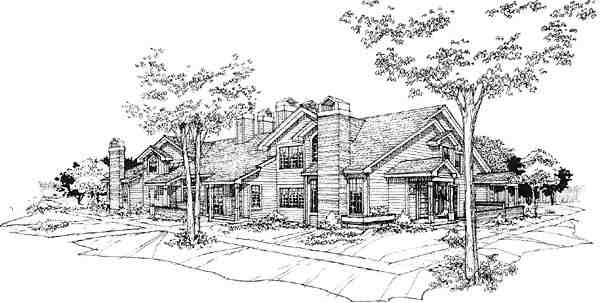 Traditional Multi-Family Plan 88412 with 16 Beds, 16 Baths Elevation