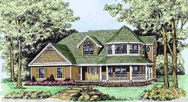 Country, Farmhouse, Victorian House Plan 90647 with 4 Beds, 3 Baths, 2 Car Garage Elevation
