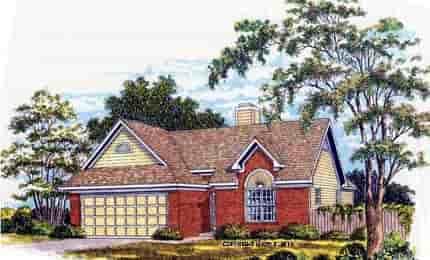European, Ranch House Plan 93006 with 3 Beds, 2 Baths, 2 Car Garage Elevation