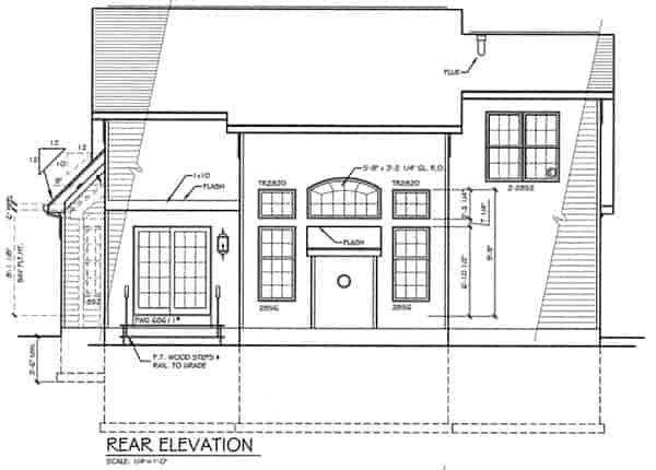 Cape Cod House Plan 94154 with 3 Beds, 3 Baths, 2 Car Garage Rear Elevation