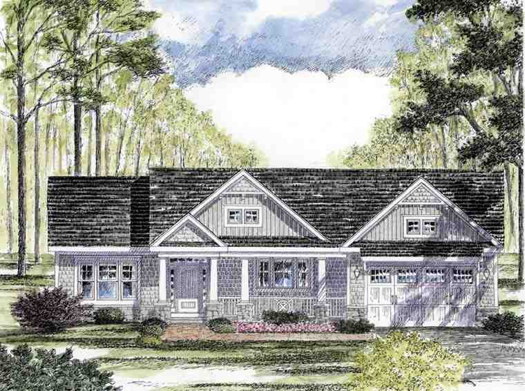 Cottage, Country, Craftsman, Ranch, Southern, Traditional House Plan 94182 with 3 Beds, 2 Baths, 2 Car Garage Elevation