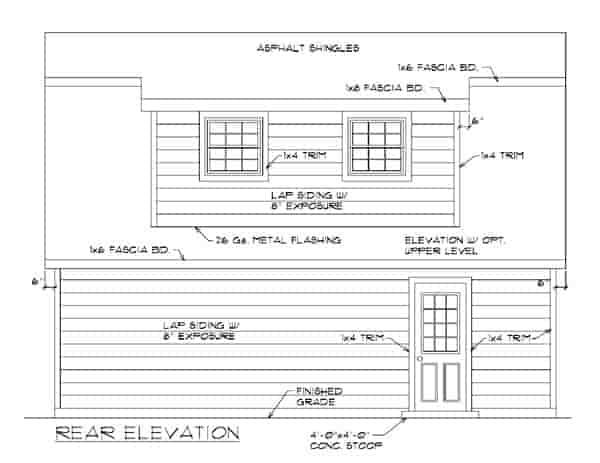 2 Car Garage Apartment Plan 94343 with 1 Beds, 1 Baths Rear Elevation