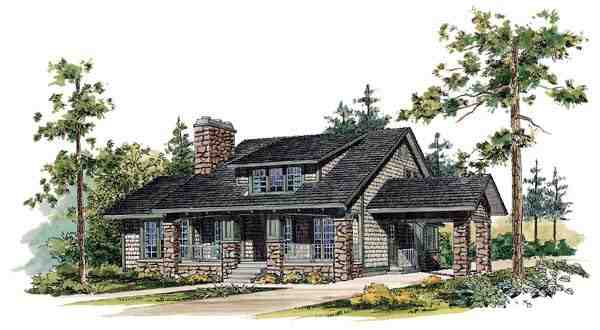 Bungalow, Craftsman House Plan 95035 with 3 Beds, 3 Baths Elevation