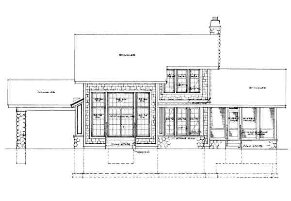 Bungalow, Craftsman House Plan 95035 with 3 Beds, 3 Baths Rear Elevation