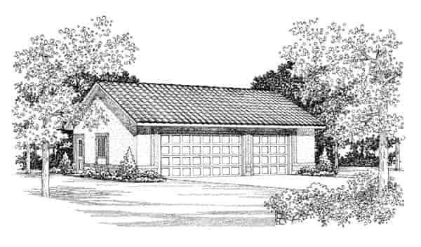 3 Car Garage Plan 95298 Elevation