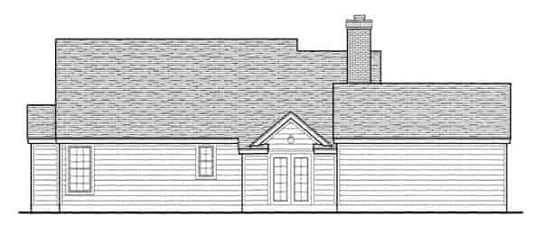 Country, Southern House Plan 95737 with 3 Beds, 2 Baths, 2 Car Garage Rear Elevation