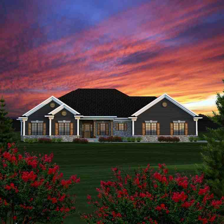 Ranch, Traditional House Plan 96152 with 3 Beds, 3 Baths, 2 Car Garage Elevation