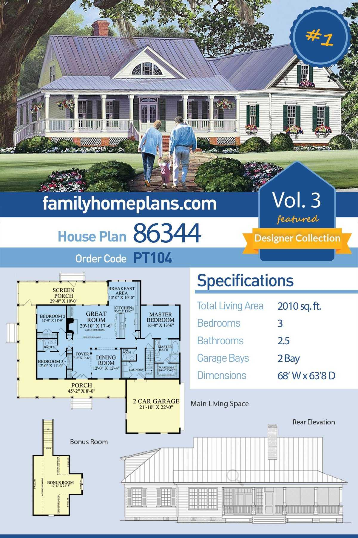 Country, Farmhouse, Southern House Plan 86344 with 3 Beds, 3 Baths, 2 Car Garage