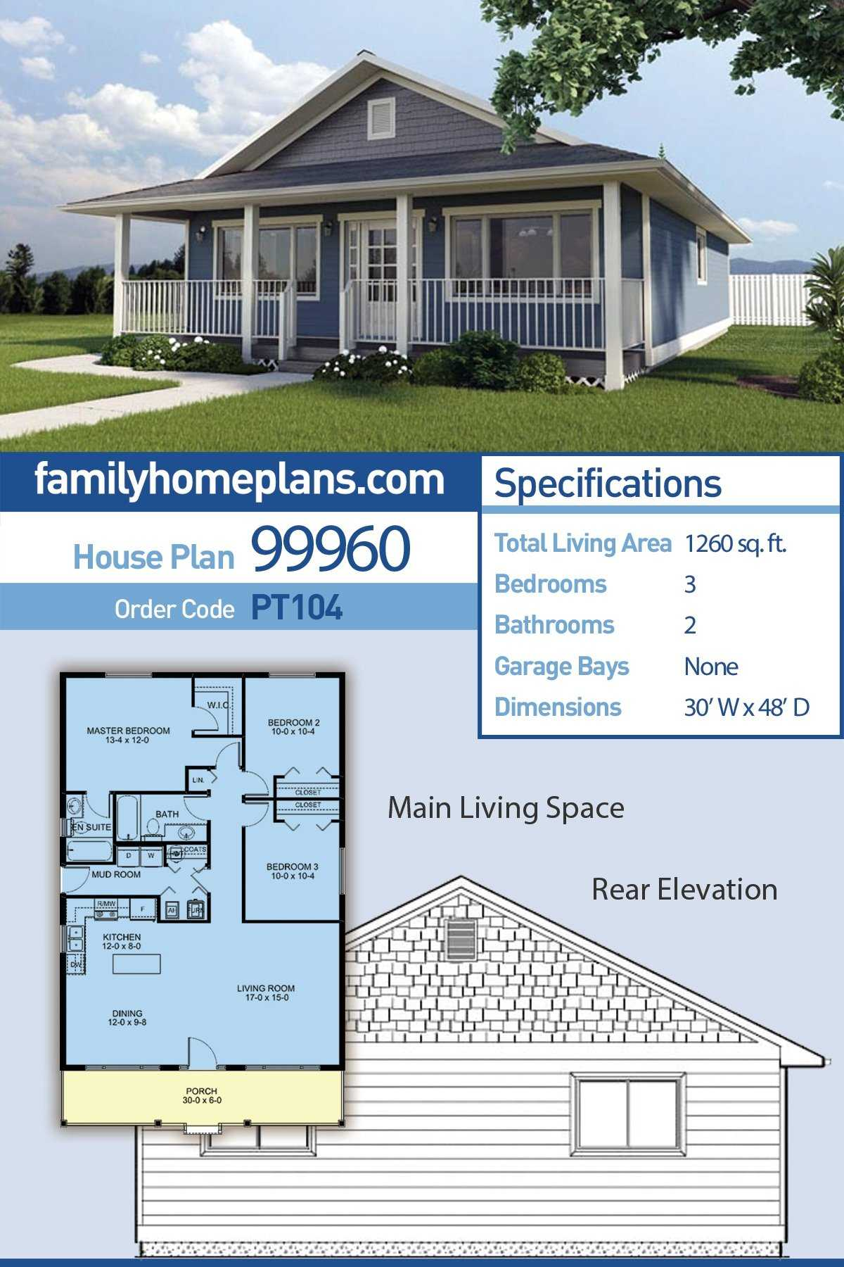 Country, Ranch House Plan 99960 with 3 Beds, 2 Baths