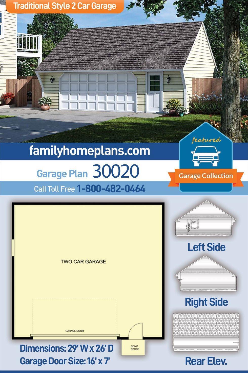 Cape Cod, Saltbox, Traditional 2 Car Garage Plan 30020