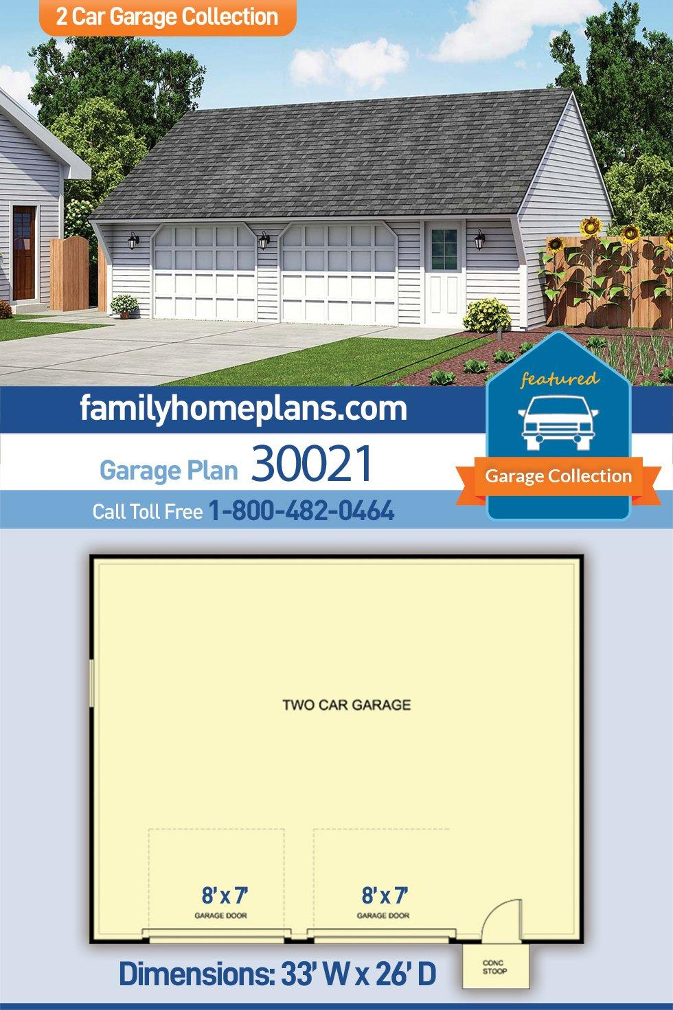 Cape Cod, Saltbox, Traditional 2 Car Garage Plan 30021