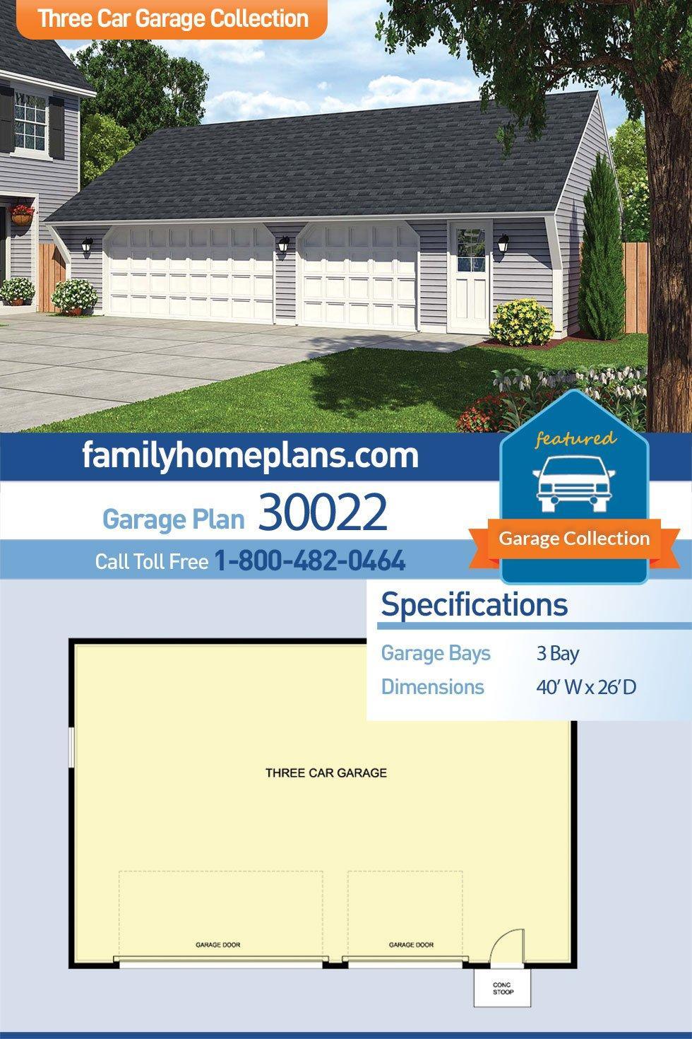Cape Cod, Saltbox, Traditional 3 Car Garage Plan 30022