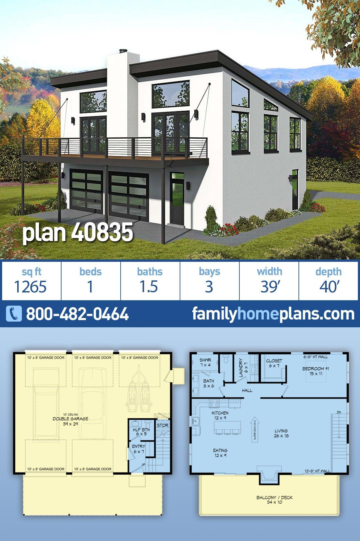 Coastal, Contemporary, Modern, Traditional House Plan 40835 with 1 Beds, 2 Baths, 3 Car Garage
