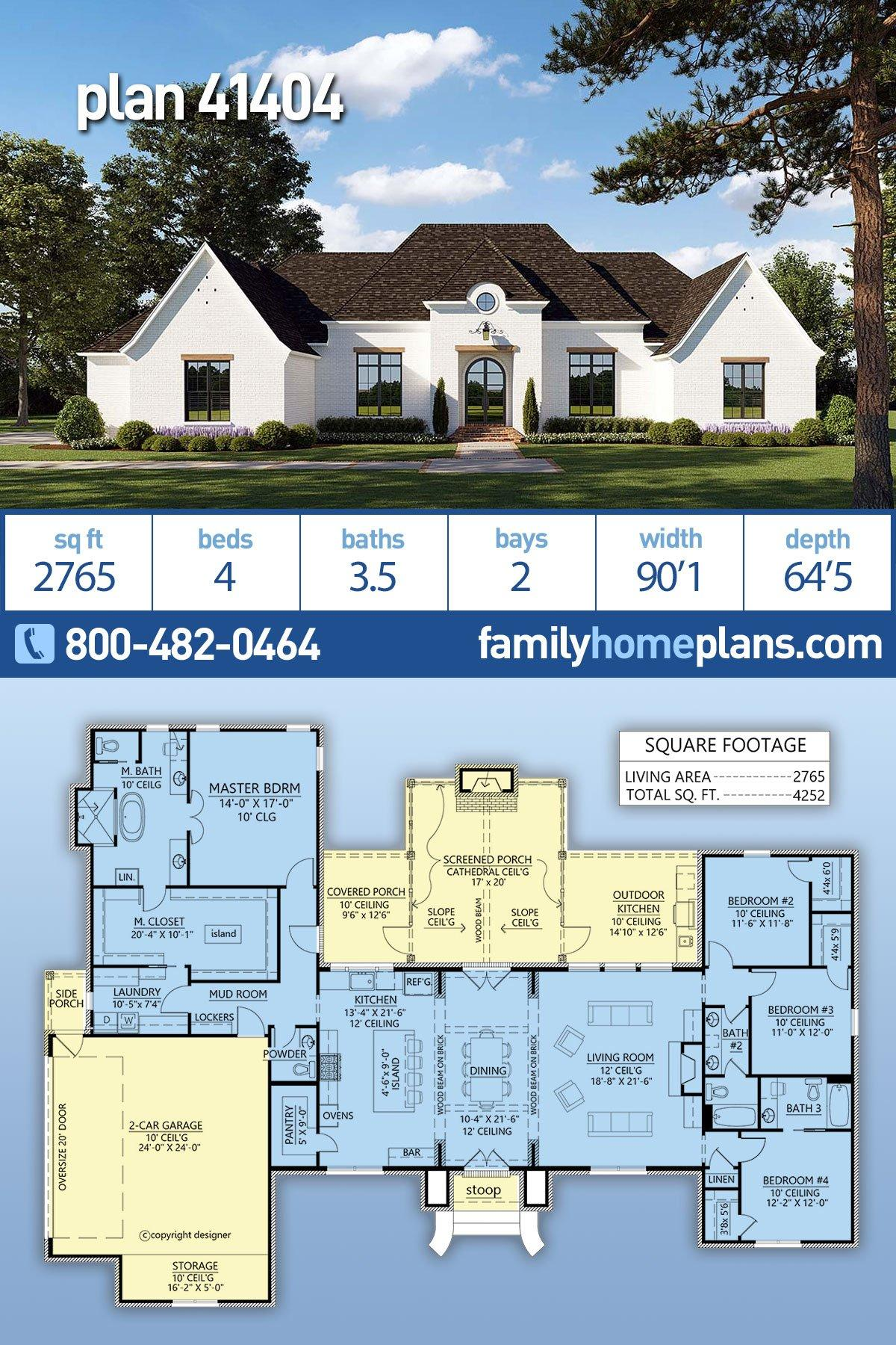 European, French Country, Traditional House Plan 41404 with 4 Beds, 4 Baths, 2 Car Garage
