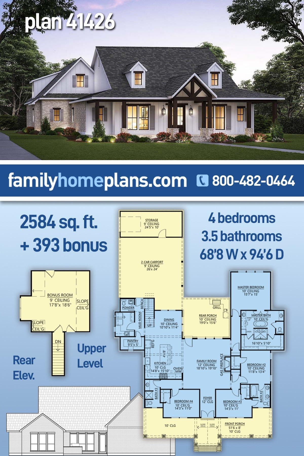 Country, Farmhouse House Plan 41426 with 4 Beds, 4 Baths, 2 Car Garage