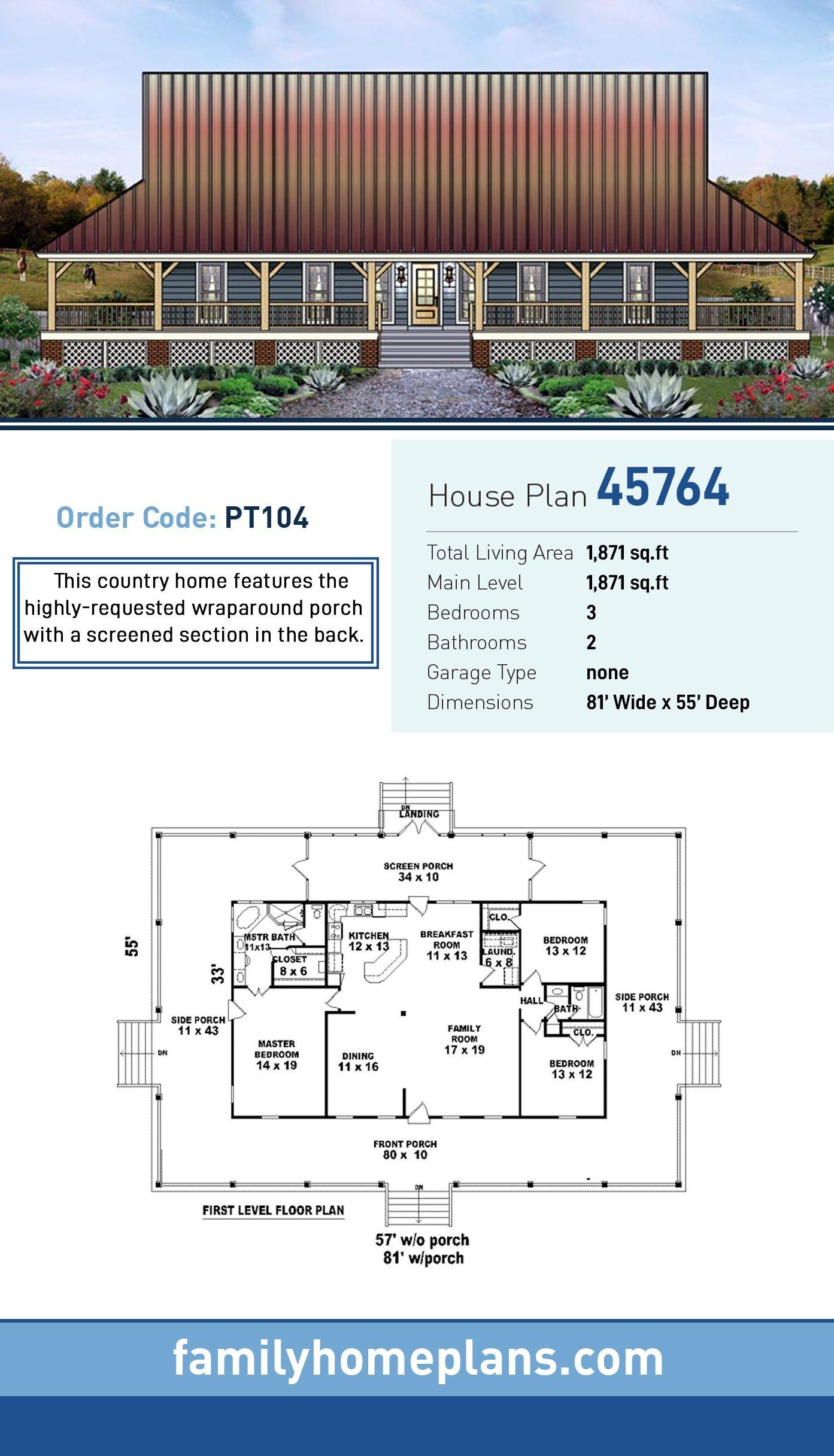 Country, Farmhouse, Ranch House Plan 45764 with 3 Beds, 2 Baths