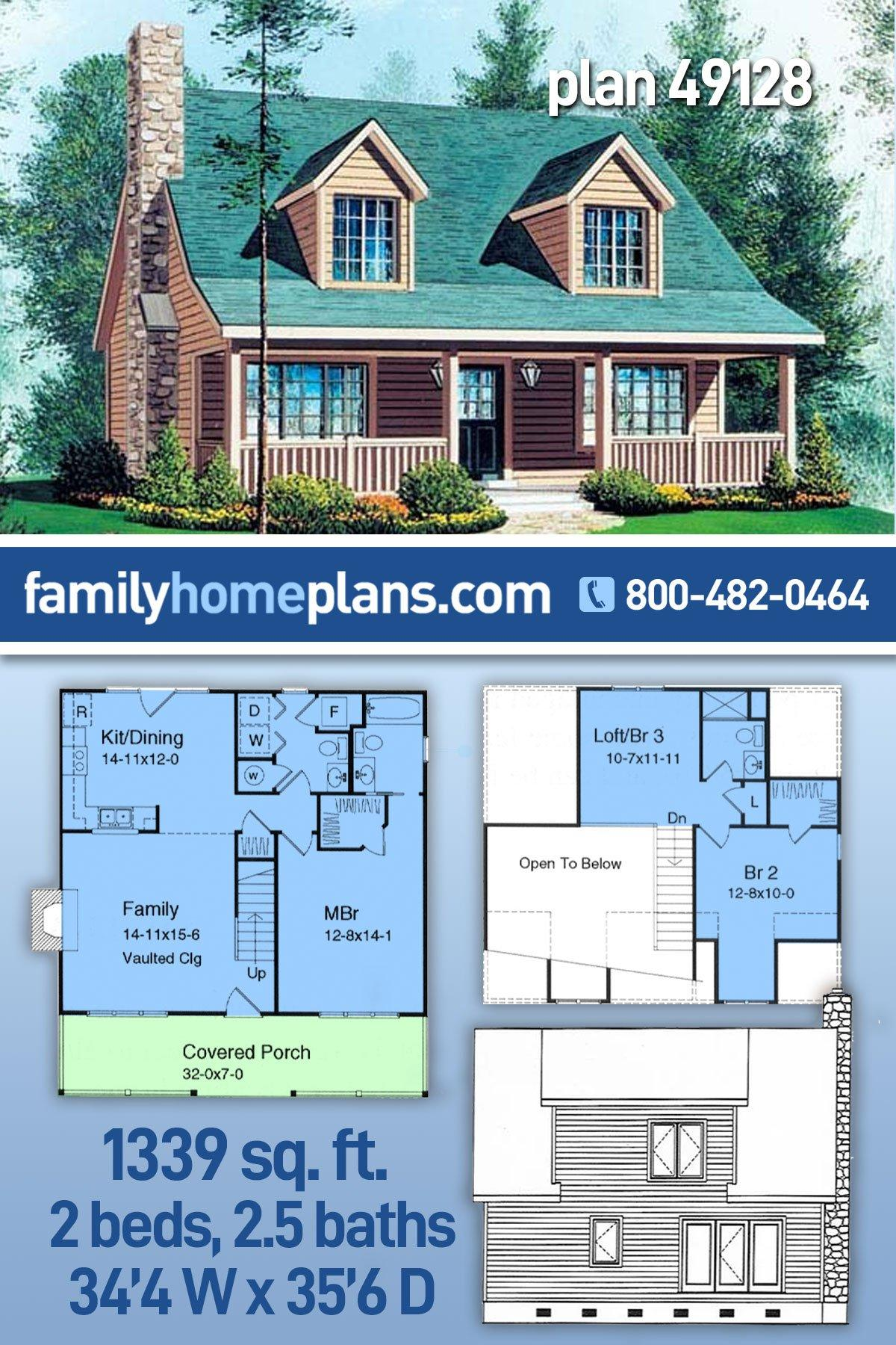 Cabin, Cape Cod, Country House Plan 49128 with 2 Beds, 3 Baths