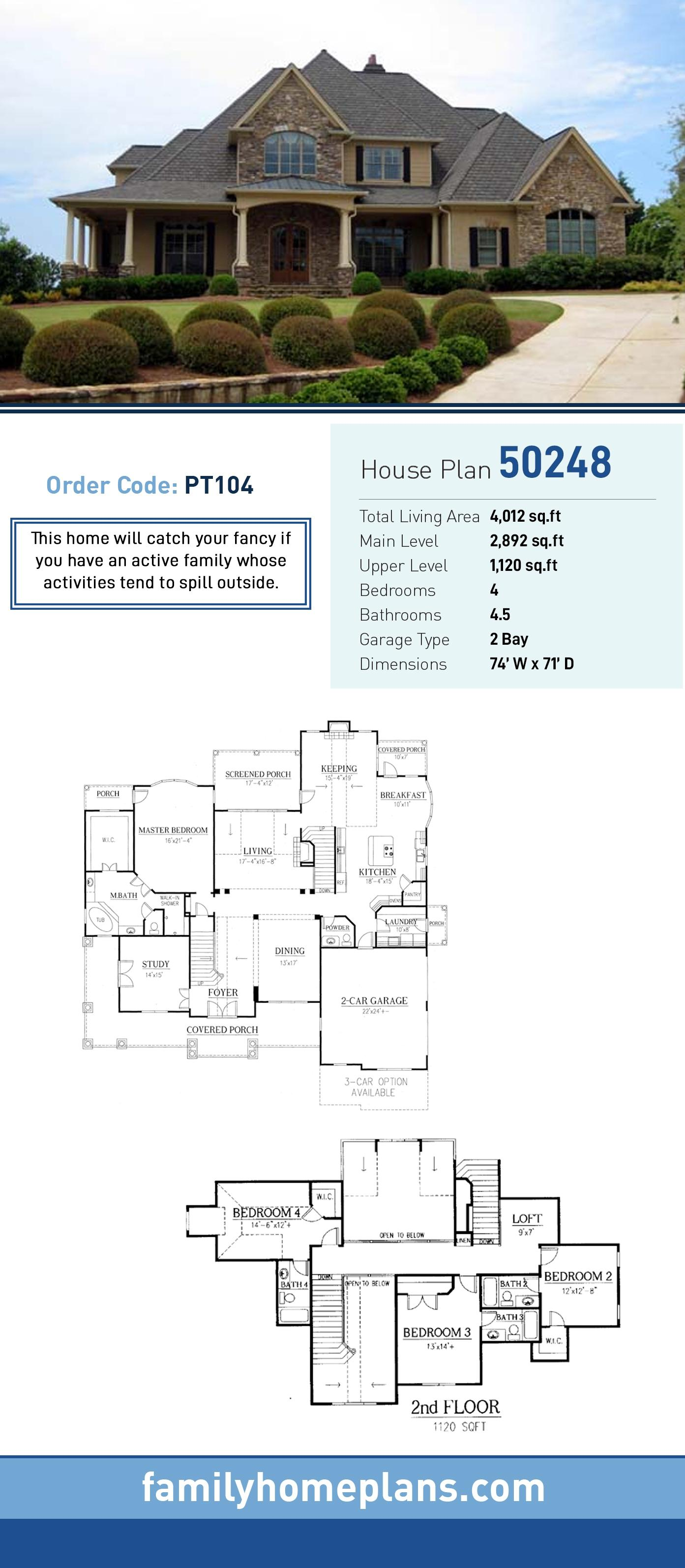 European, Traditional House Plan 50248 with 4 Beds, 5 Baths, 2 Car Garage