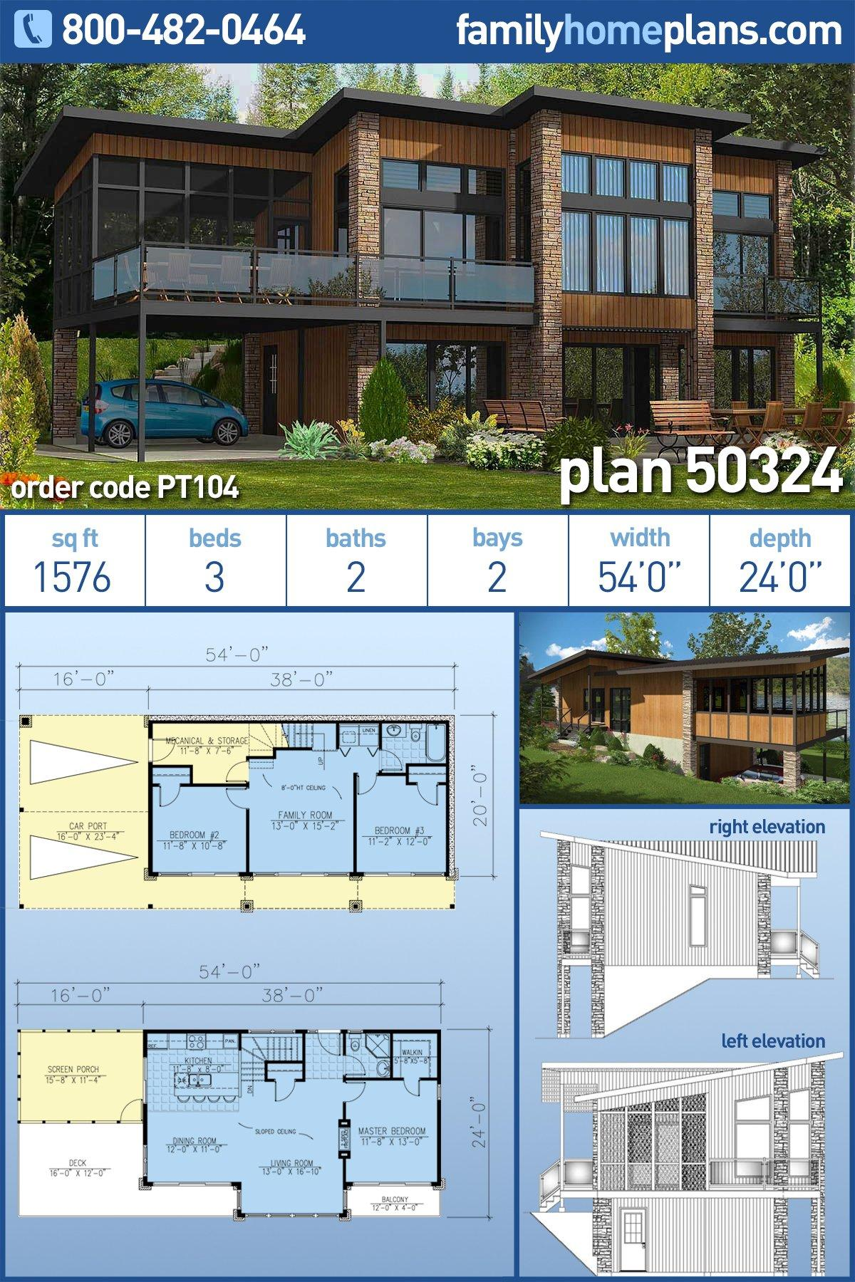 Contemporary, Modern House Plan 50324 with 3 Beds, 2 Baths, 2 Car Garage