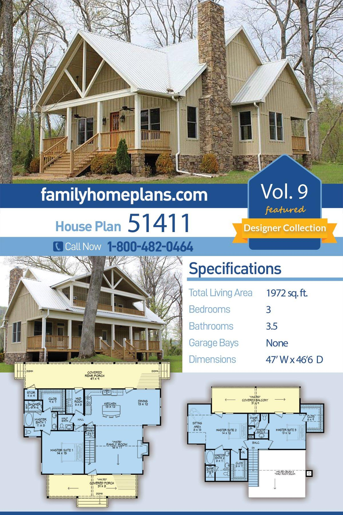 Cabin, Country, Farmhouse House Plan 51411 with 3 Beds, 4 Baths