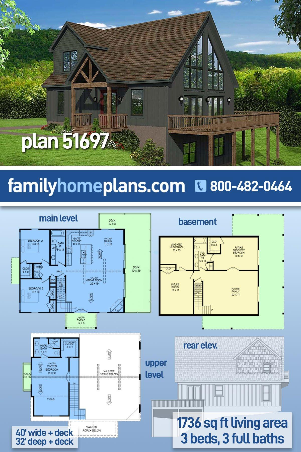 Contemporary, Country, Traditional House Plan 51697 with 3 Beds, 3 Baths