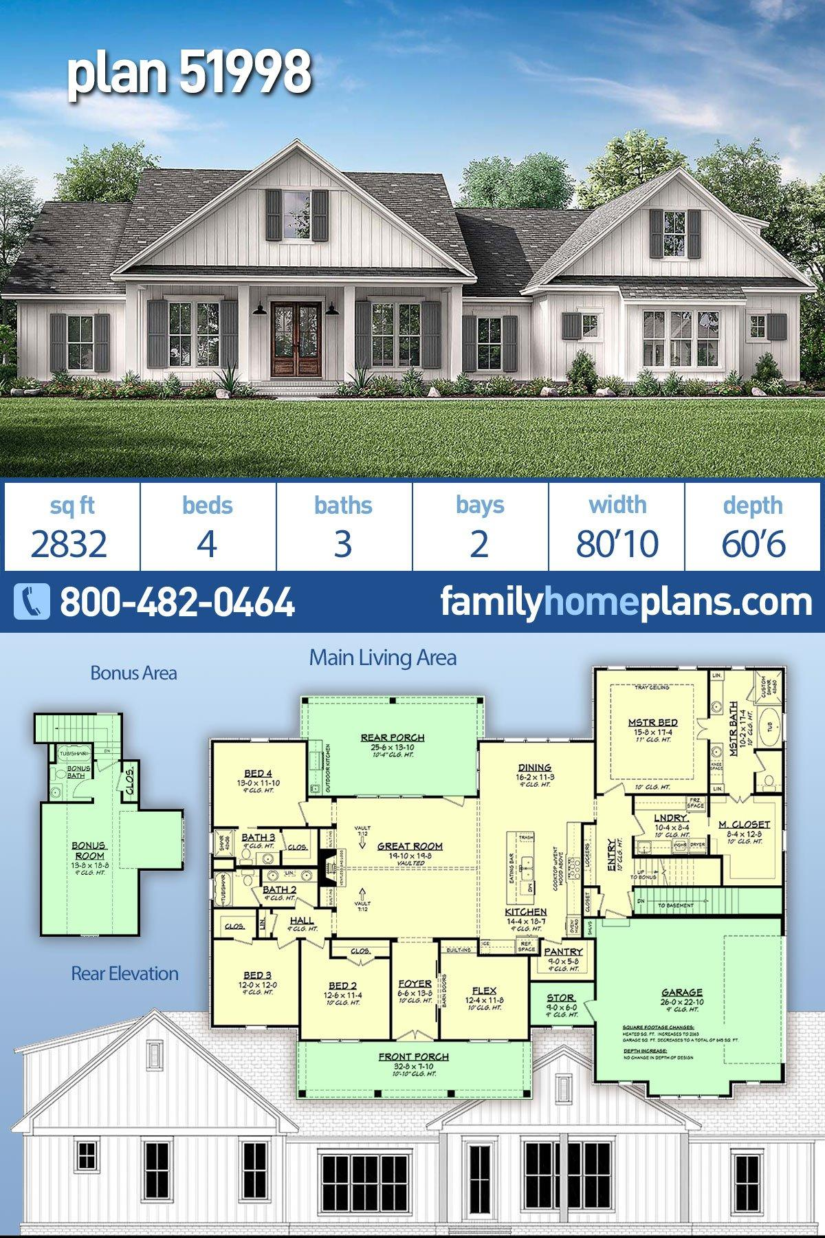 Country, Farmhouse, Southern House Plan 51998 with 4 Beds, 3 Baths, 2 Car Garage