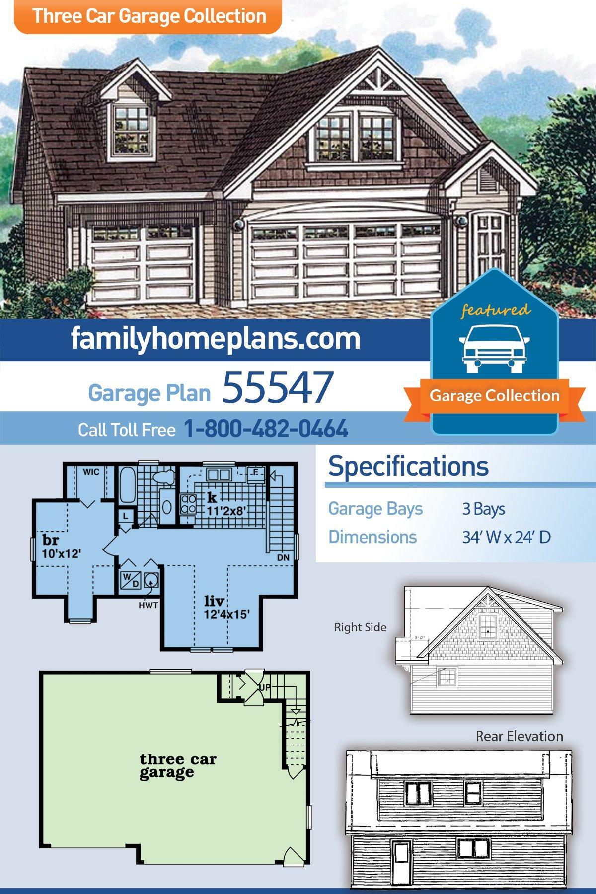 Cape Cod 3 Car Garage Apartment Plan 55547 with 1 Beds, 1 Baths