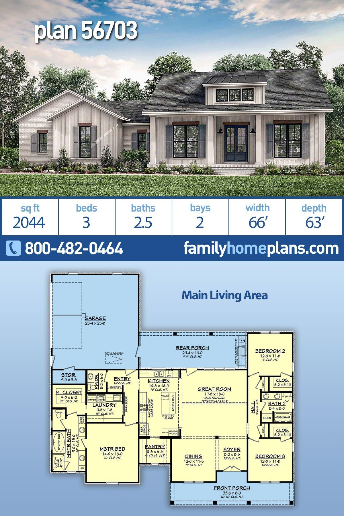 Country, Craftsman, Farmhouse, Traditional House Plan 56703 with 3 Beds, 3 Baths, 2 Car Garage
