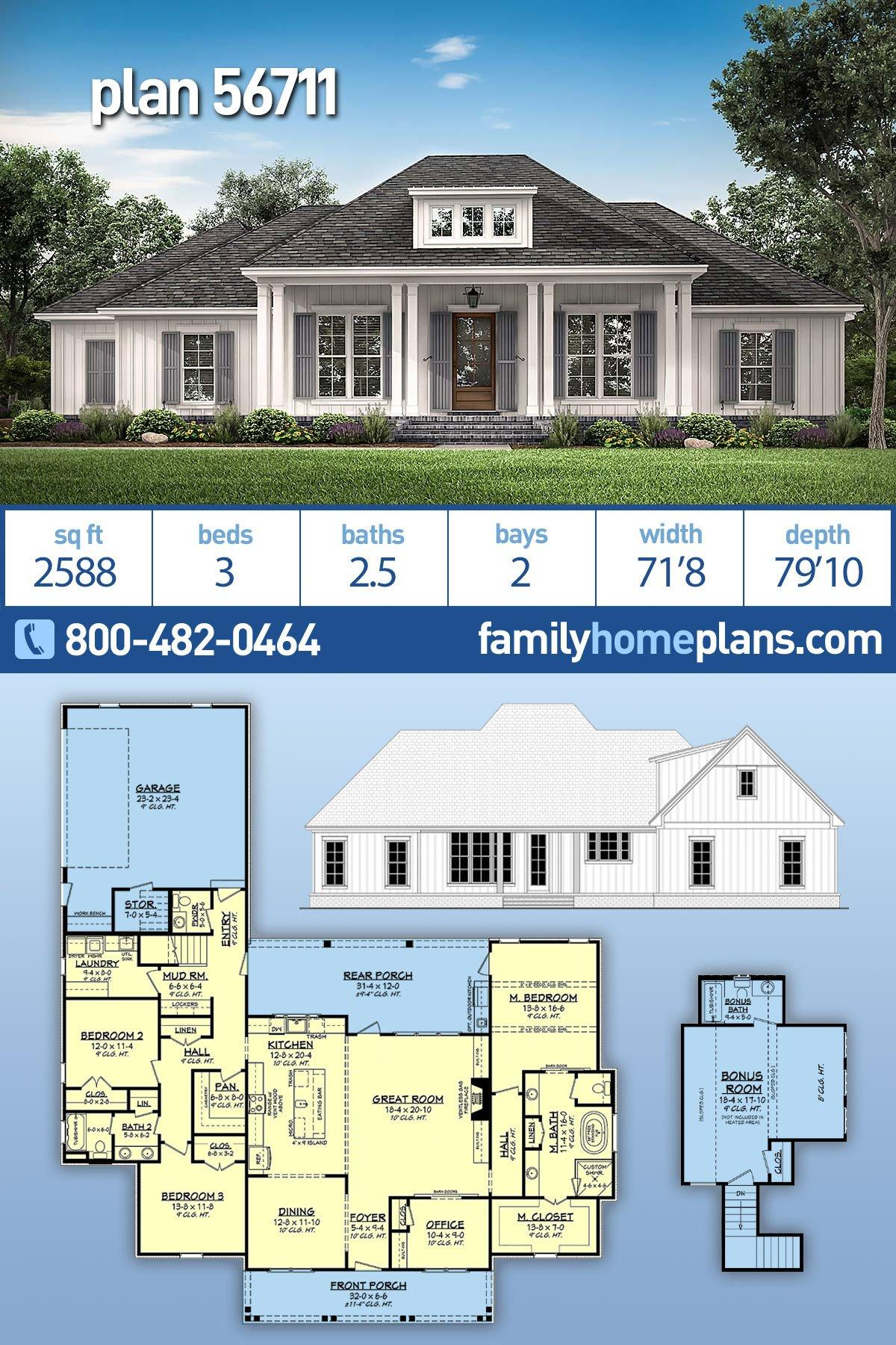 Country, French Country, Southern House Plan 56711 with 3 Beds, 3 Baths, 2 Car Garage