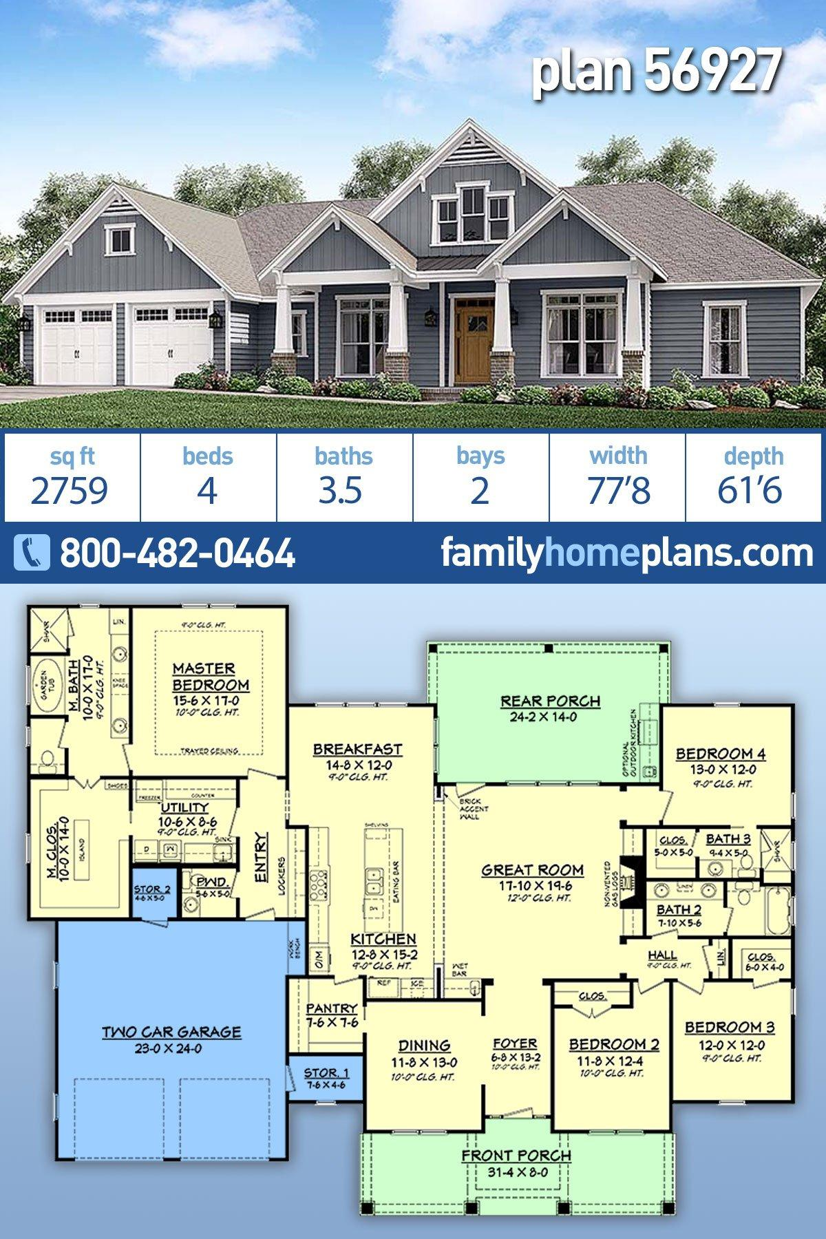 Country, Craftsman, Traditional House Plan 56927 with 4 Beds, 4 Baths, 2 Car Garage